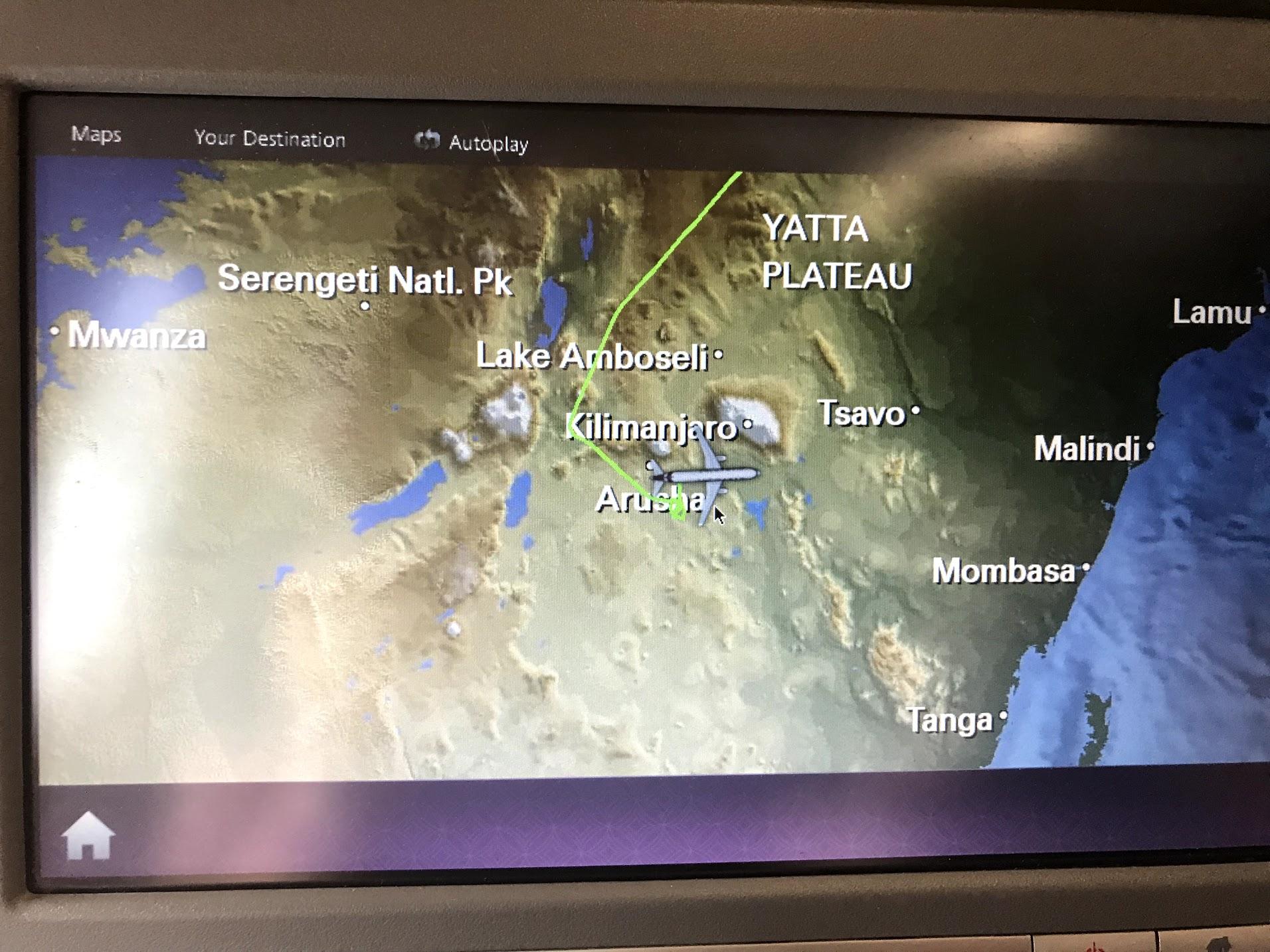 ecran-avion-vol-tanzanie-kilimandjaro